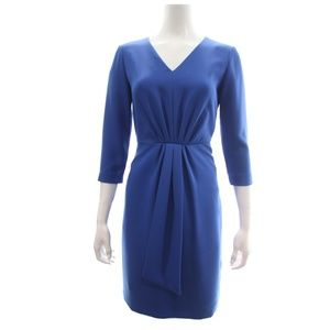 Tahari Cobalt Blue 3/4 Sleeved V-Neck Dress